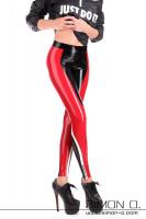 Vorschau: Enge glänzende Fitness Latex Leggings Die Leggings ist Schwarz mit einem roten und dünneren weißen Streifen