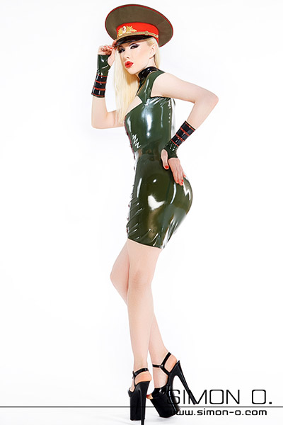 Skin tight military latex mini dress