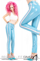 Preview: A woman with pink hair wears a latex jean in light blue with stripes in white and pink on the side