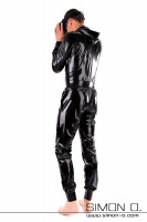 Preview: Latex suit with hood and pockets in black loosely cut but waisted with cuffs at arms and legs seen from behind