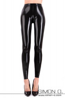 Preview: Narrow shiny latex leggings. Wet look optics. In the crotch area, the genitals stand out.