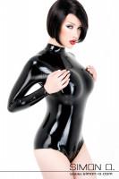 Vorschau: Latex Damen Body in Schwarz mit langen Ärmeln