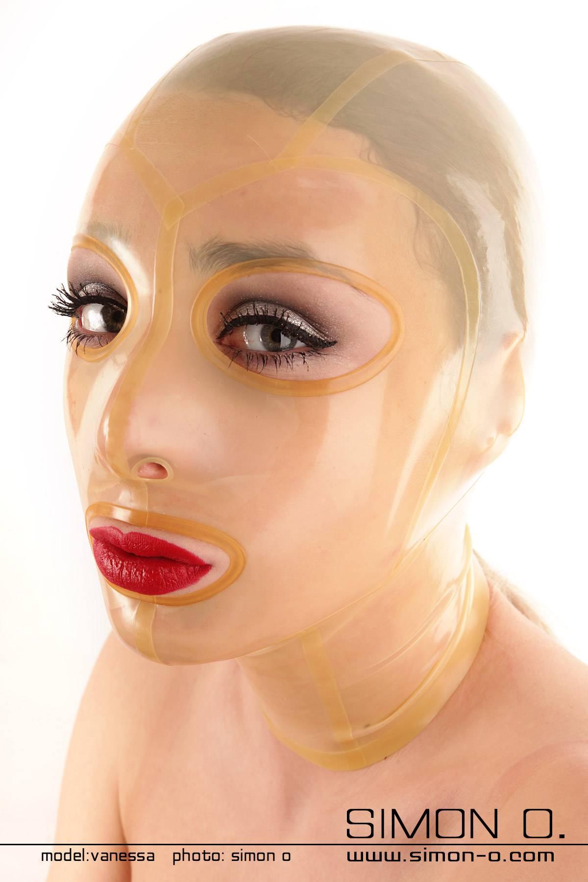 Durchsichtige Latex Maske mit umrandeten Augen und Mund