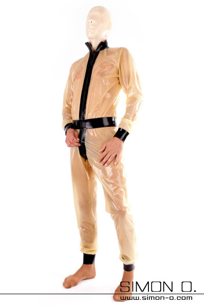 Transparent latex suit for men wide cut combined with black