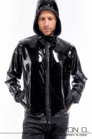 Preview: Ellaborately processed hooded latex jacket for men Comes with practical pockets should definitely find a new home in your latex fetish wear wardrobe. If you …