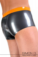 Preview: Shiny latex underpants for men in metallic grey with waistband in the color orange