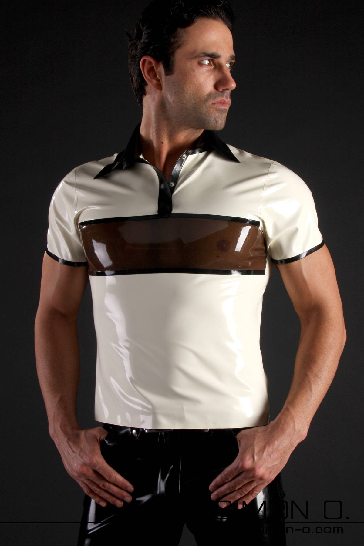 Latex polo shirt with quarter sleeves in 3 color design The attractive 3-color design with a transparent panel which sits across the pecs makes this latex …
