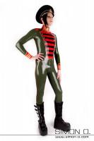 Vorschau: Latex Overall für Herren in Uniform Stil in Olive Grün mit Schwarzen roten und goldenen Applikationen