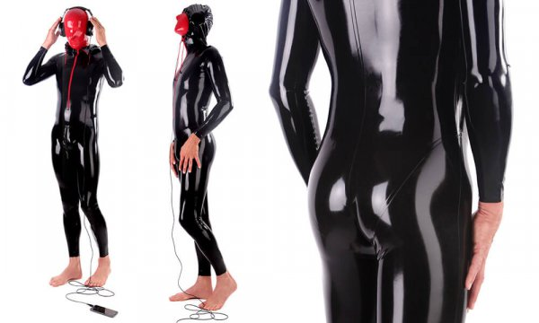 Latex suit in tight black shiny latex