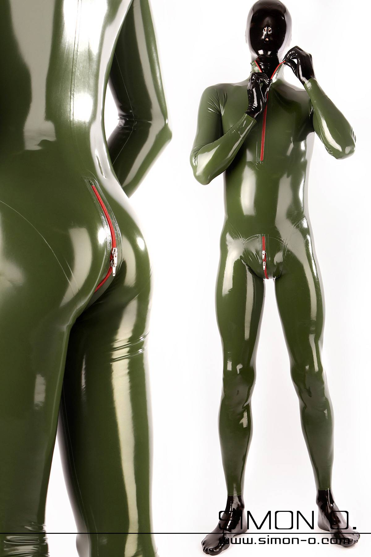 A man with a black latex mask and gloves wears a skintight latex suit in olive green.