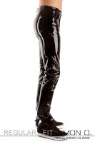 Preview: Shiny latex trousers for men in black with pockets waistband and belt loops