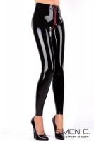 Vorschau: Eine Dame mit einer engen glänzenden Latex Leggings und schwarzen High Heels Die Leggings hat einen roten Zipp im Schritt