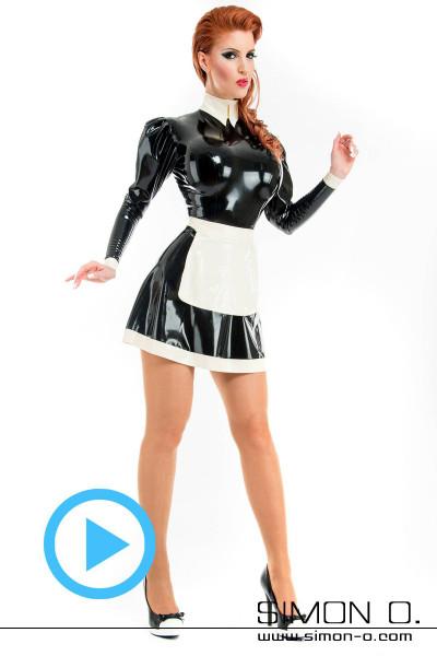 Latex Dienstmädchen Kleid mit Stehkragen und Einstiegszipp hinten. Perfekte Paßform durch aufwendig gearbeiteten Schnitt. Alle Abschlüsse sind eingefaßt. Das …