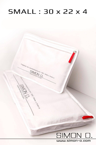 Small white Simon O. Storage bag for latex clothes with zip and logo print