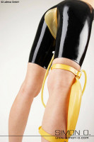 Preview: Latex pants with one bag for urine in the crotch area - the collection bag is transparent piss Latex pants is black with collection bag and tube