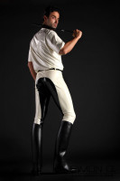 Preview: Elaborately Glued Latex Breeches These men's latex riding breeches come in your choice of colour and contrast colour for a bespoke look.  Our …