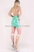 Preview: Latex Dress in Rubber Clinic Nurse Look in jade green with transparent and white cross