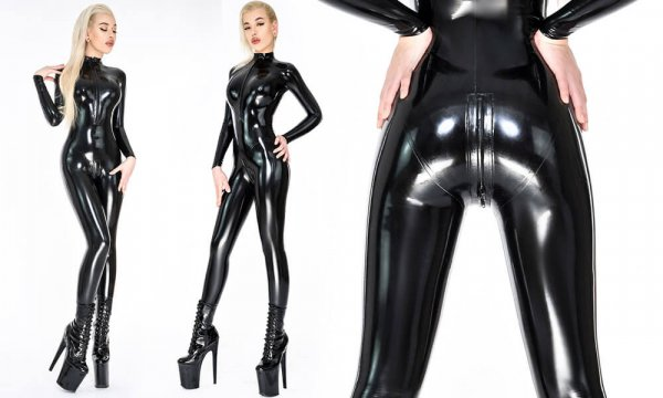 Black shiny latex catsuit for women
