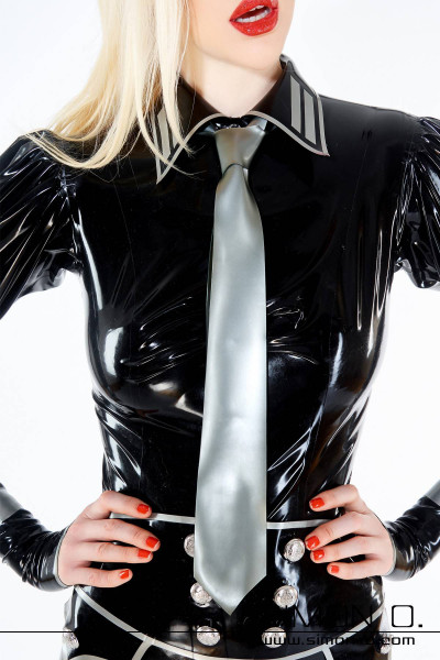 A woman wearing a uniform blouse with a silver latex tie