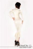 Vorschau: Elegantes Langes Latex Kleid in weiß von hinten gesehen