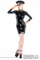 Vorschau: Latex Uniform Minikleid Latex Kleid mit aufgesetzten Taschen im Militär Stil. Dieses aufwendig verarbeitete Latex Kleid wird aus 0.4 mm hergestellt. Der …