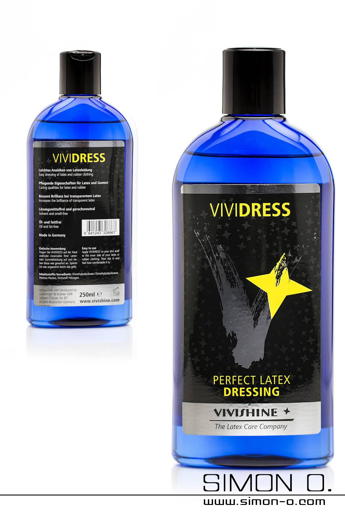 Dressing aid for latex clothing by Vivishine in a blue bottle
