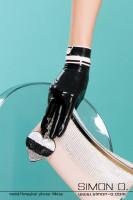 Vorschau: Kurze Latex Handschuhe mit farblichen Akzent und Swarovski Strass Knopf.