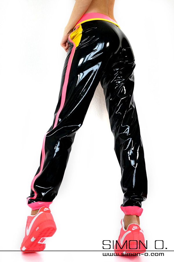 Black shiny latex jogging pants with pockets