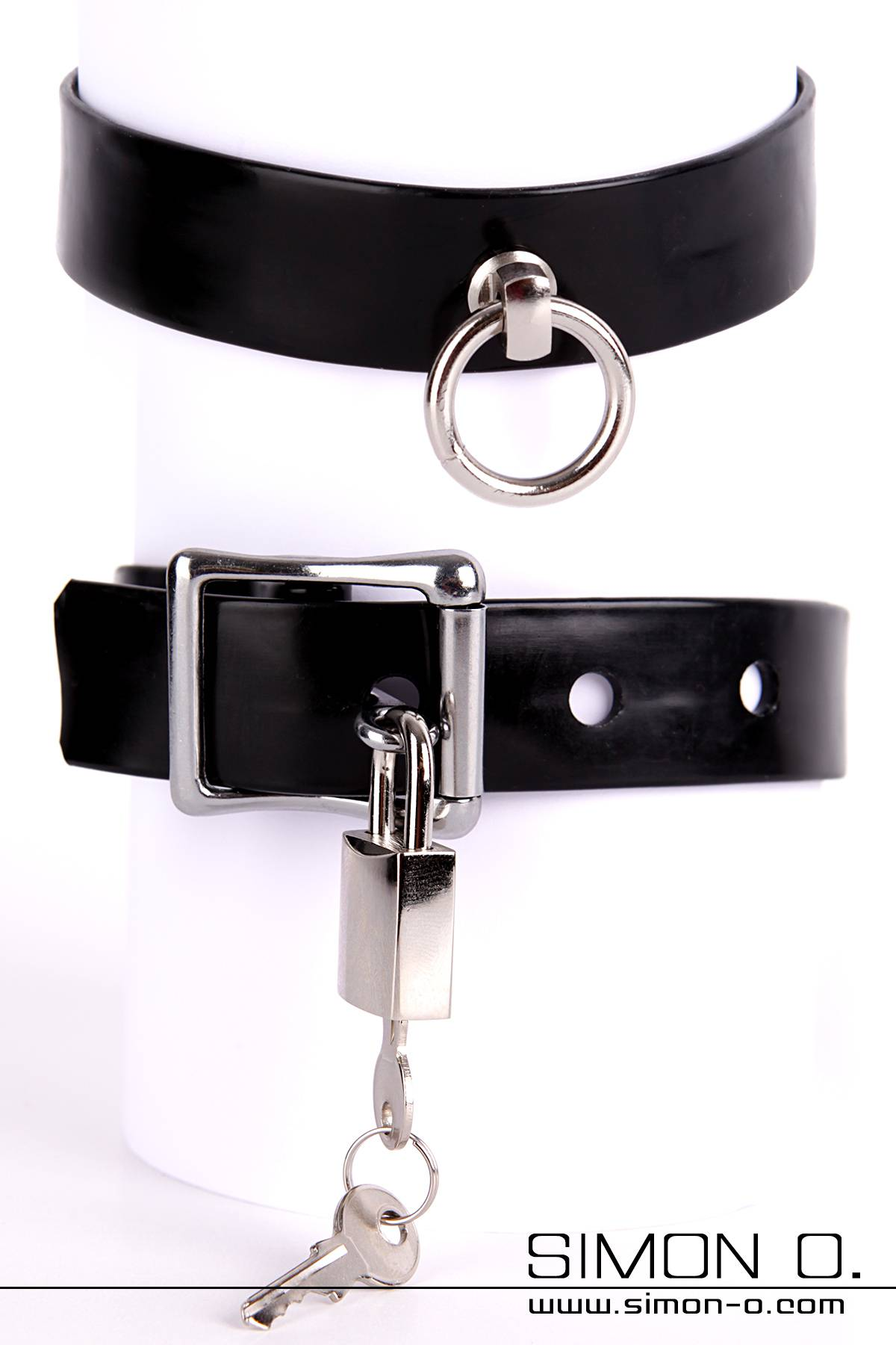 Red latex collar with a silver O-ring including lockable miniature padlock