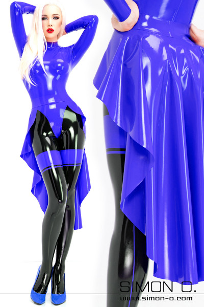 A blonde woman wearing a blue latex train over a catsuit