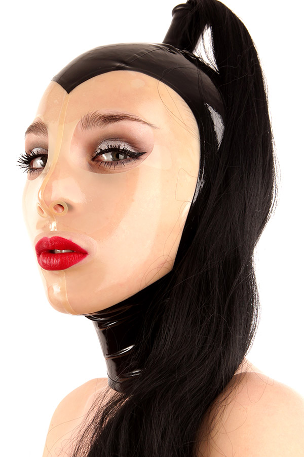 Latex mask in black transparent insert in the face area