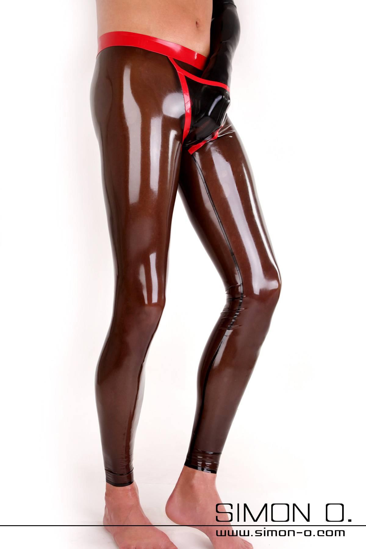 Sexy Herren Leggings aus Latex mit praktischen schön gestalteten Eingriff vorne Der Bund dieser Leggings ist verstärkt und doppelt umrandet. Ebenso die Naht …