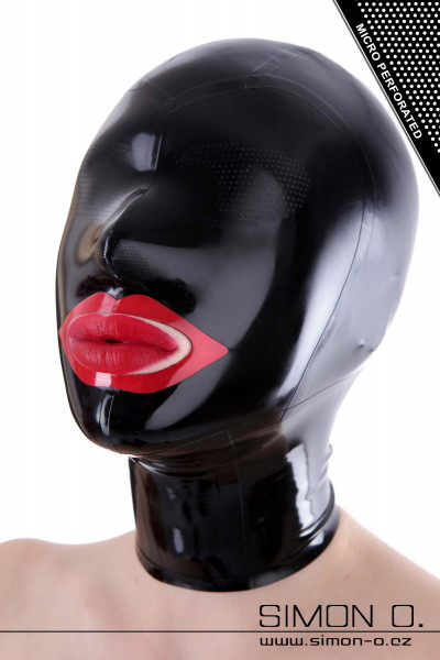 Latex hood with perforated eyes and red kiss mouth Latex hood with perforated eyes and red kiss mouth. Numerous tiny holes make it possible to see through …