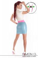 Vorschau: Latex Minikleid mit kurzen Ärmeln in den Farben Weiß, Pink und Hellblau von hinten gesehen