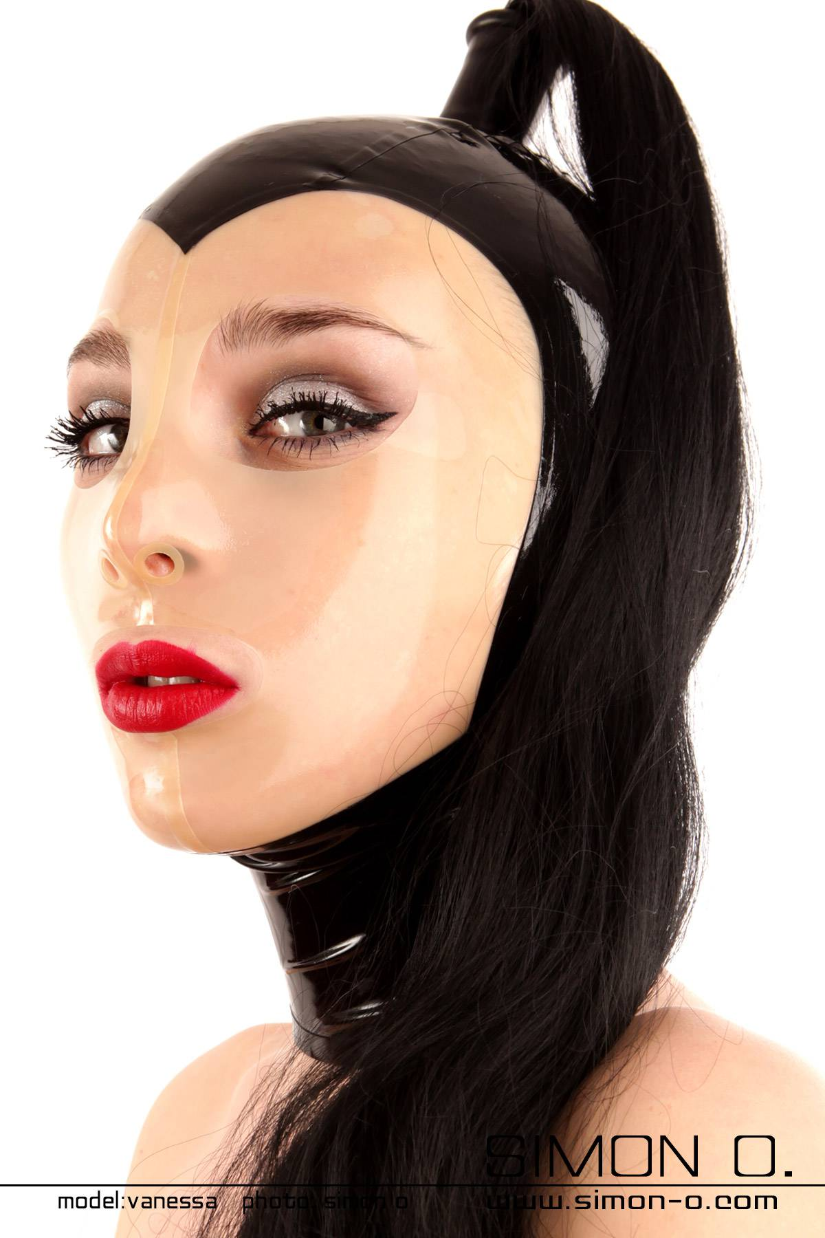 Domina latex hood in black with transparent face and hairpiece in black