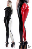 Preview: Skintight latex breeches with zip in the cut area in the colours black with red and black with white