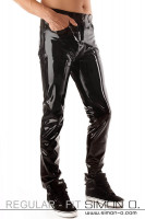 Preview: A gentleman wears a shiny latex jean and has a hand in his pocket.