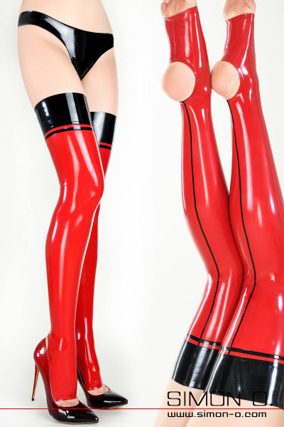 Women's legs in red shiny latex stockings with black garter and black back seam