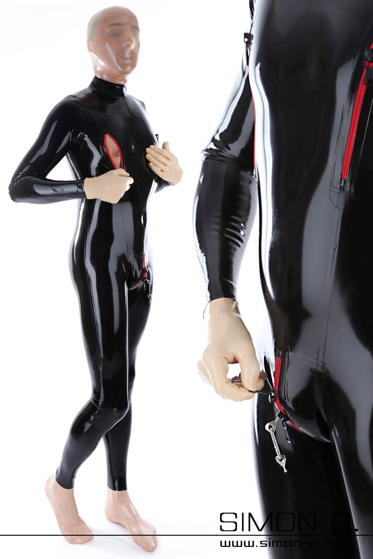 Schwarzer Latex Bondage Catsuit mit roten absperrbaren Zipps