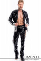 Preview: A man is wearing shiny jogging pants and a shiny latex jacket made of latex with pockets in black