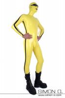 Vorschau: Gelber Latexanzug mit Maske für Herren mit Hanky Code schwarzer Streifen