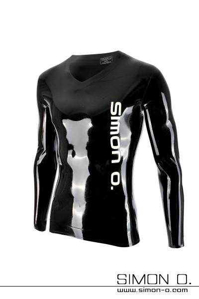 Glänzendes Langarm Latex Shirt in Schwarz mit weißem Simon O. Logo auf der Vorderseite