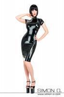 Vorschau: Enges glänzendes Cocktailkleid aus Latex in Schwarz