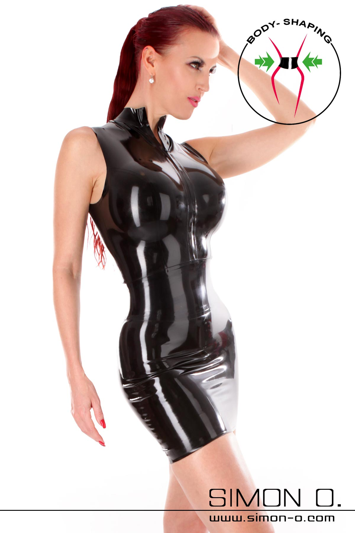 Black latex mini dress with zip in front and integrated waist belt