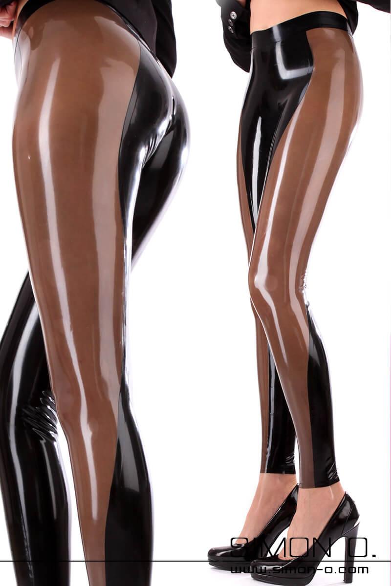 Hautenge Latex Leggings mit farblich abgesetzten Einsatz Sexy Latex Leggings mit farblich abgesetzten Einsatz welcher von hinten beginnend seitlich nach vorne …