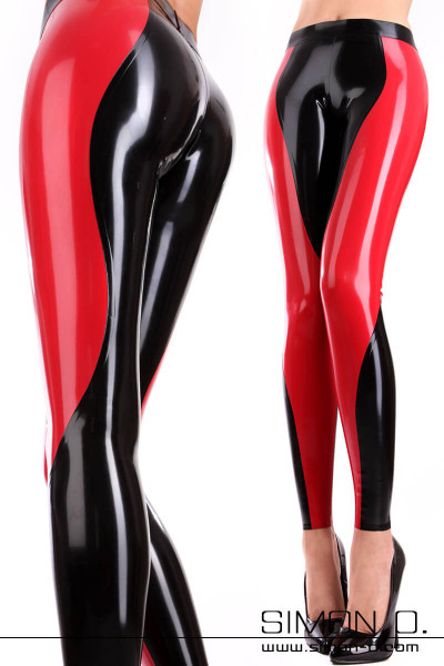 Two-tone shiny latex leggings with a tight fit in black combined with red