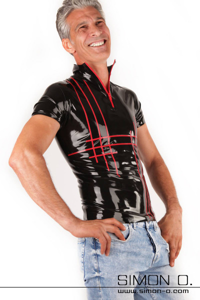 Short sleeve latex shirt for men with zipper Men's two-coloured high-neck latex shirt with short sleeves and stripe design in front. You select the main …