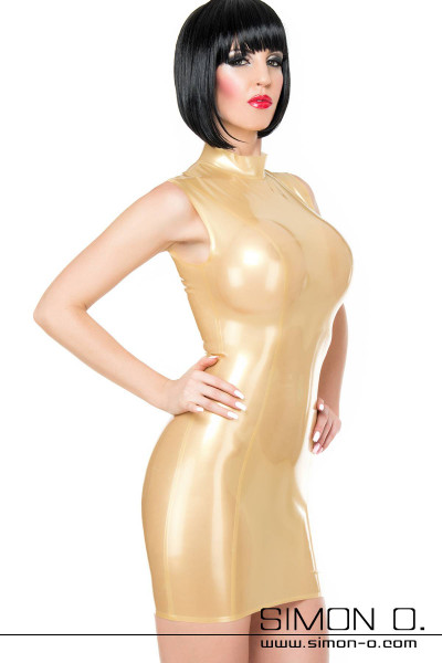 A dark-haired woman wears a tight golden latex mini dress in wet look optics
