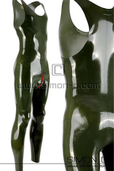 Sleeveless Latex suit with round neckline in olive green for men with zipper in the crotch