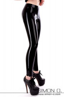 Preview: Ladies legs in a skintight shiny latex leggings with zipper through the crotch. The lady wears Platform High Heels